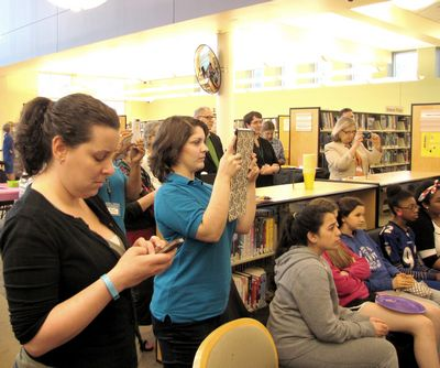 Teens, parents and library staff.