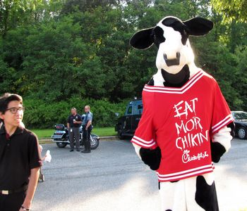 The Chick-Fil-A cow made an appearance