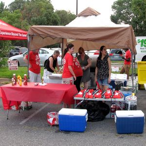 Target provided hot dogs, water and give aways